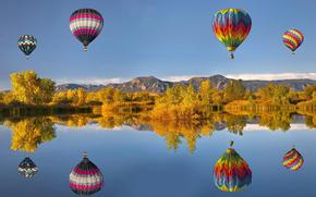 природа, пейзажи, воздушные, шары, деревья, горы, вода, озеро, небо, фото
