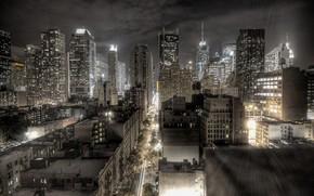 ville, nuit, lumires