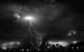 night, Skyscrapers, Thunderstorm, Lightning, windows, light