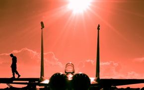 самолет, закат, аэродром