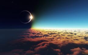 日食, 云, 太阳