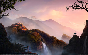 sunrise, lock, Mountains, waterfall, fence, road, rider, hero