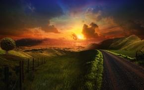 strada, erba verde, Hills cumulus obloka