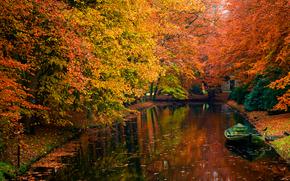 acqua, autunno, alberi, romanticismo, bellezza, barca, foto