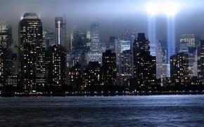 небоскребы, нью-йорк, всемирный торговый центр, свет, лучи, мемориал