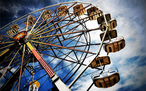 колесо обозрение, парк, небо