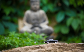 machine, Bouddha, arbres, fort, pierre, statue