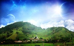 casa, Hills, cielo