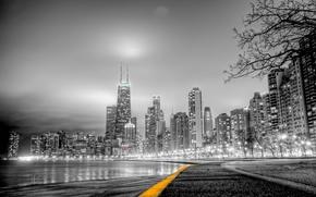 город, чёрно белое фото, парк дорожка