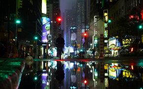 cidade, noite, poa de calada, semforo, humano a andar de bicicleta