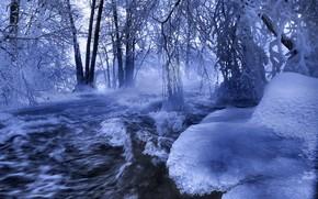 invierno, ro, hielo