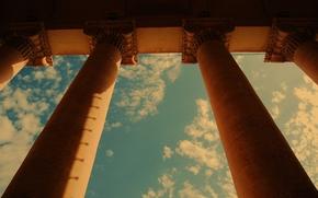 город, постройка, архитектура, колонны, небо