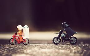 Macro, foto, immagine, creativo, cifre, Lego, astronauta, Darth Vader, inseguimento, grande