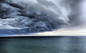 Sea, ocean, clouds, storm, smooth surface