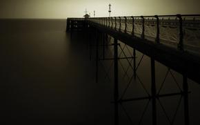 пейзажи, обои, мосты, пирсы, море, берег, вода, океан, вечер, темнота, фото