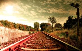 Landschaften, Schienen, die Art und Weise, Weg, Sleepers, Eisenbahn, Railways, Steine, Gras, Strae, Foto, Tapete, Kreativitt