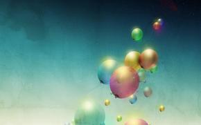 минимализм, воздушные, шары, цвета, арт
