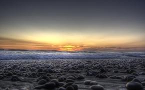 nature, landscape, море. камни, берег. галька, horizon, sunset, sun