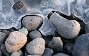 nature, Macro, coast, beach, stones, pebble, winter, ice, frost, cold