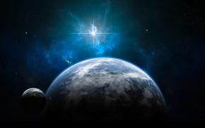 Pianeta, stella, splendere, atmosfera, nuvole, acqua, Oceans, terra, continenti