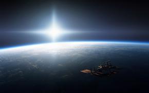 на орбите, ship, space