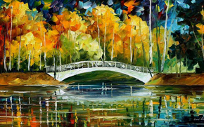 Herbst, Brcke, Oil Painting