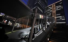 escalator, evening, Lights