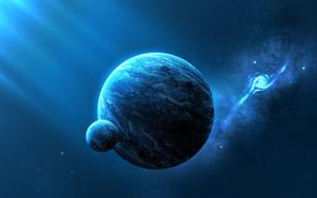 planet, galaxy, light