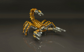 robot, скорпион, gold