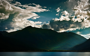 Landscapes, photo, Mountains, water, clouds, light, Rays, Lake, lakes, Sea
