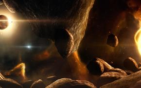 астероиды, звезды, туманность, солнце, планета, ракета, галактика