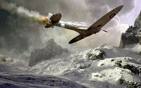 подбитый, спитфаер, самолет, дым, падение, авария, война, горы, снег, зима