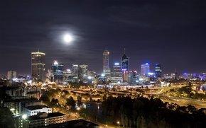 night, moon, Lights, road, Skyscrapers