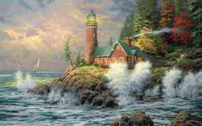 farol, mar, pintura, quadro