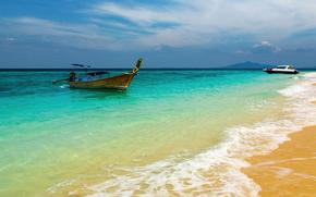Landscapes, Wallpaper, Boats, dinghies, Sea, ocean, water, coast, пляжи, sand, wave, foam