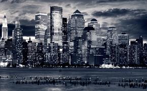 города, вид, фото, панорамные фотографии, обои, америка, вода, океан, дома, небоскрёбы