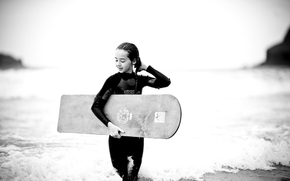 surfing, Girl, board, Sea, black and white