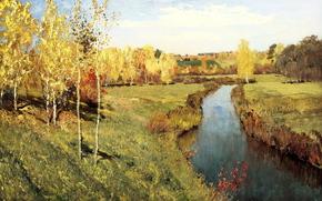 левитан, золотая осень, живопись, холст, масло
