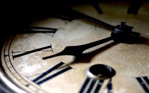 часы, циферблат, римские, цифры, стрелки