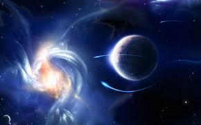 planeta, Estrella, reflexiones, brillo, anomala
