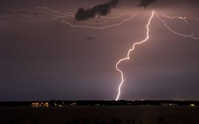 night, Thunderstorm, lightning