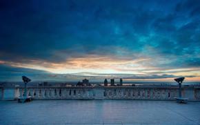 город, вид, обзор, панорама, небо, облака
