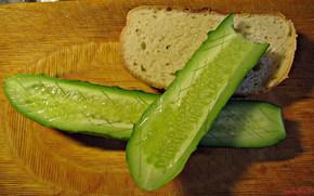 еда, доска, хлеб, огурец