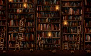 Library, полки, Books, лестницы, Candles