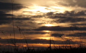 sunset, sun, cloud, sky