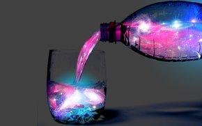 galassia, in acqua, bottiglia, vetro