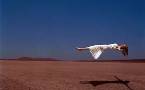 girl, desert, flight