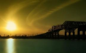 sunrise, river, Bridge
