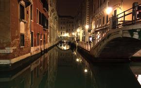 италия, венеция, канал, ночь