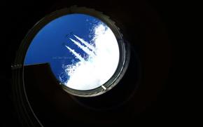 minimalism, sky, aircraft, inscription, шахта, shadow, ladder